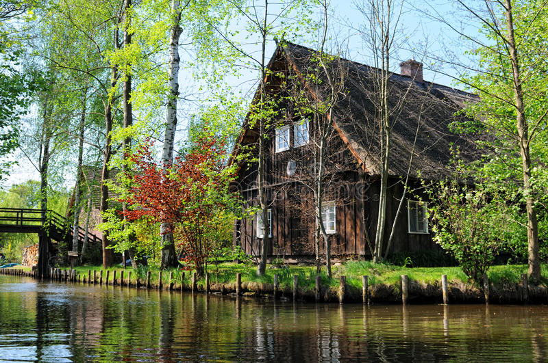 Culture landscape of Spreewald forest in Brandenburg Germany. Traditional Spreewald settlements at river Spree Luebbenau Germany. Land formed by spree river and stock photography