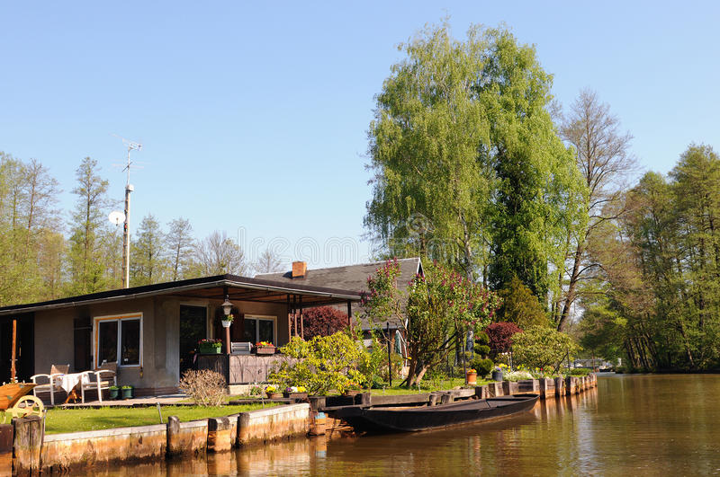 Culture landscape of Spreewald forest in Brandenburg Germany. Traditional Spreewald settlements at river Spree Luebbenau Germany. Land formed by spree river and royalty free stock photo