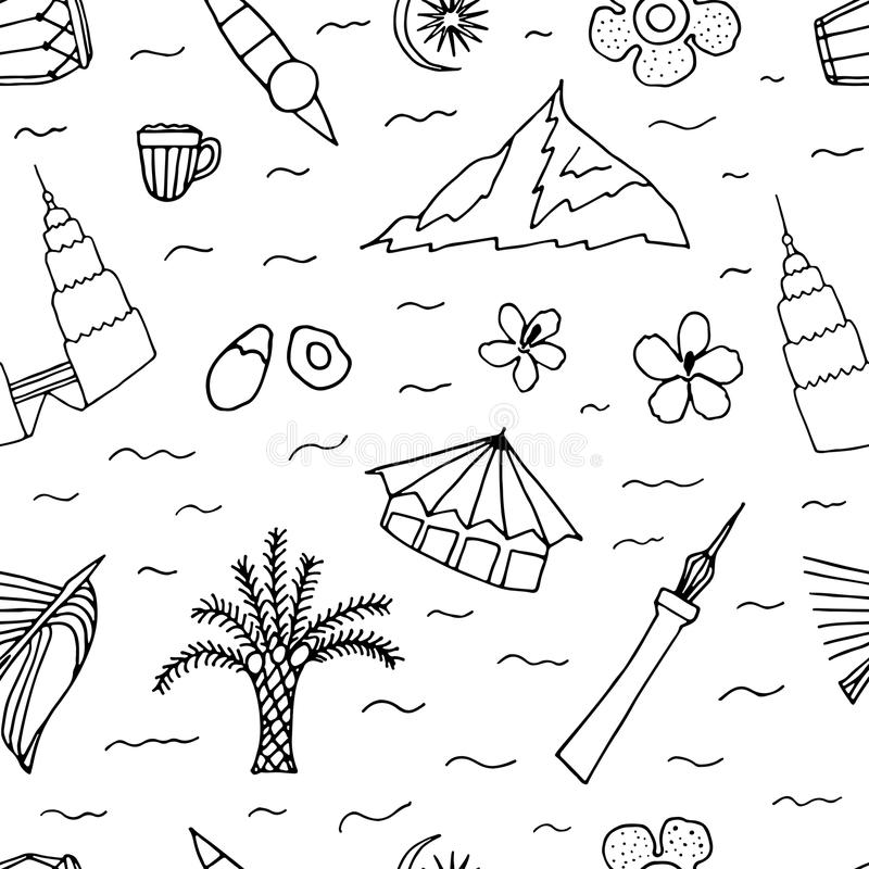 Download Culture Of Malaysia Hand Drawn Seamless Pattern Stock Illustration