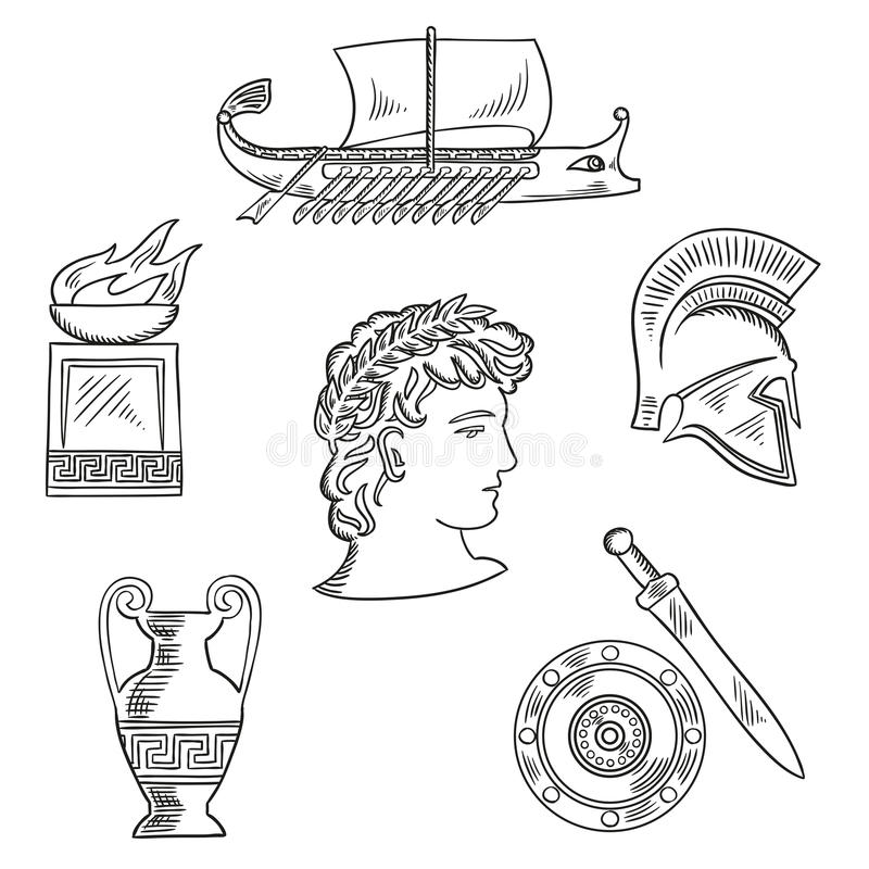 Culture symbols of ancient Greece. Historical and cultural symbols of ancient Greece with emperor in laurel wreath, surrounded by sketches of amphora and soldier royalty free illustration