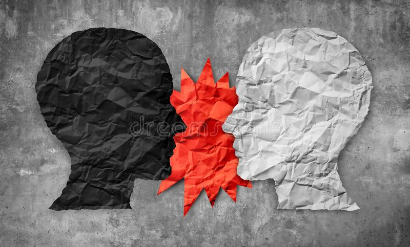 Culture War. Between right and wrong or conservative and liberal political clash of ideas as a 3D illustration style stock illustration