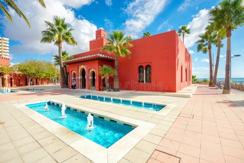 Cultureel centrum Castillo Bil Bil in Benalmadena, Andalusia, Spai stock foto