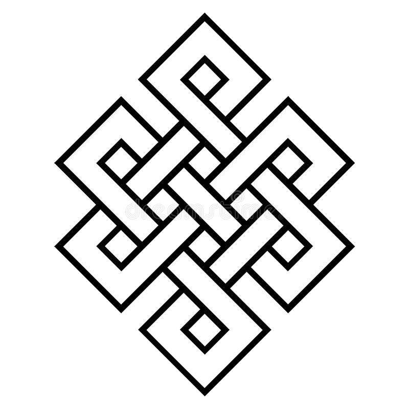 Cultureel symbool van boeddhisme eindeloze knoop stock illustratie
