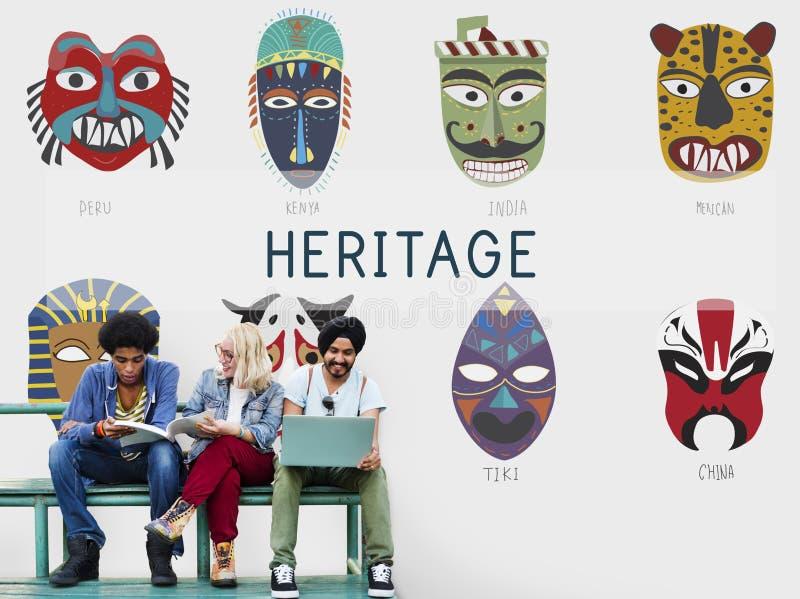 Cultureel Traditioneel Maskers Globaal Concept royalty-vrije stock foto
