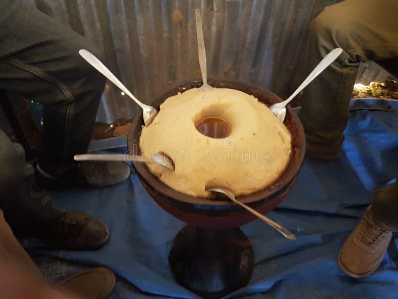Cultureel voedsel Ethiopië it& x27; s wij riepen GENFO stock fotografie