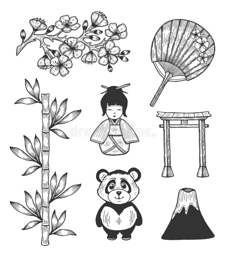Culturele de symbolenpictogrammen van Japan royalty-vrije illustratie