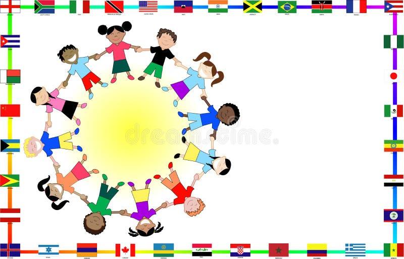 Culturele jonge geitjes met vlaggen vector illustratie
