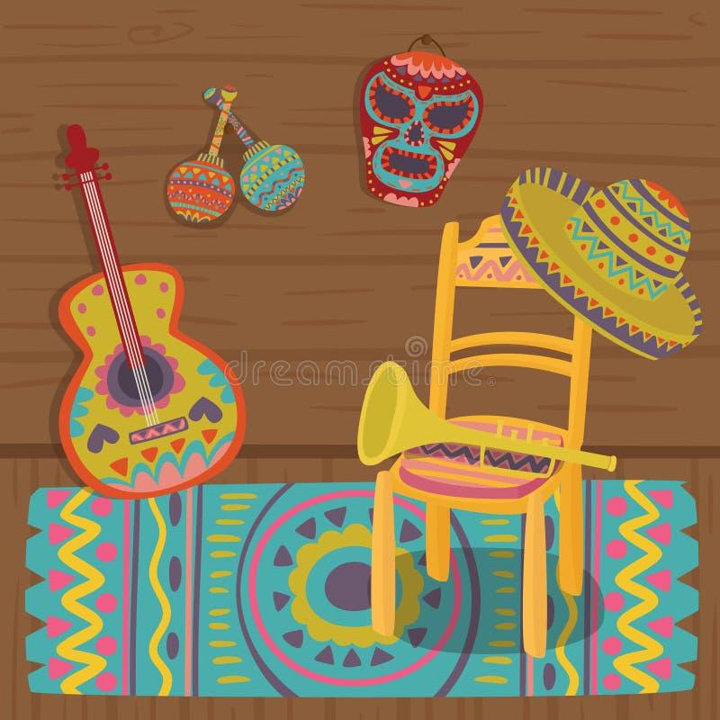 Culturele symbolen van Mexico, traditioneel binnenland van Mexicaanse huis vectorillustratie stock illustratie