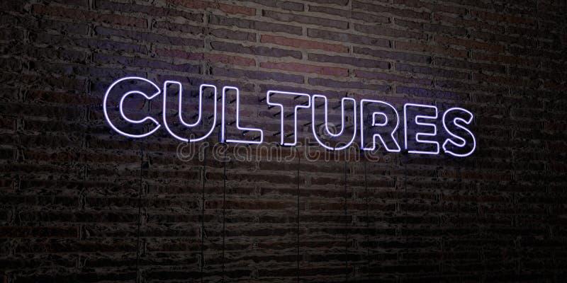 CULTURES - enseigne au néon réaliste sur le fond de mur de briques - image courante gratuite de redevance rendue par 3D illustration stock