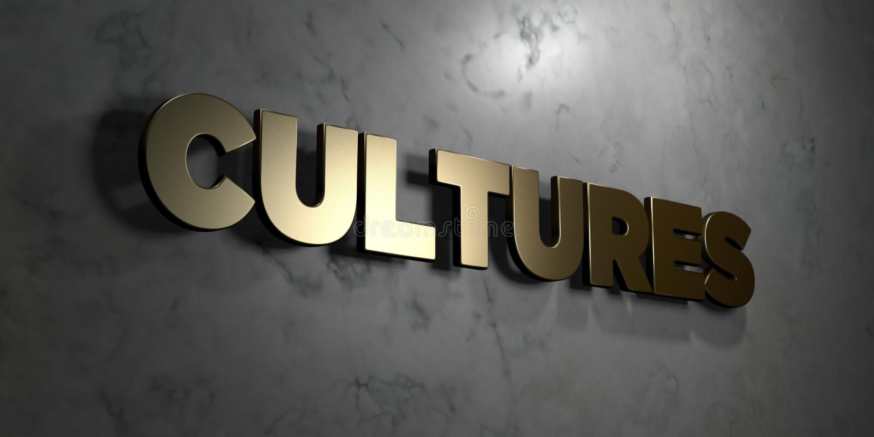 Cultures - signe d'or monté sur le mur de marbre brillant - illustration courante gratuite de redevance rendue par 3D illustration libre de droits