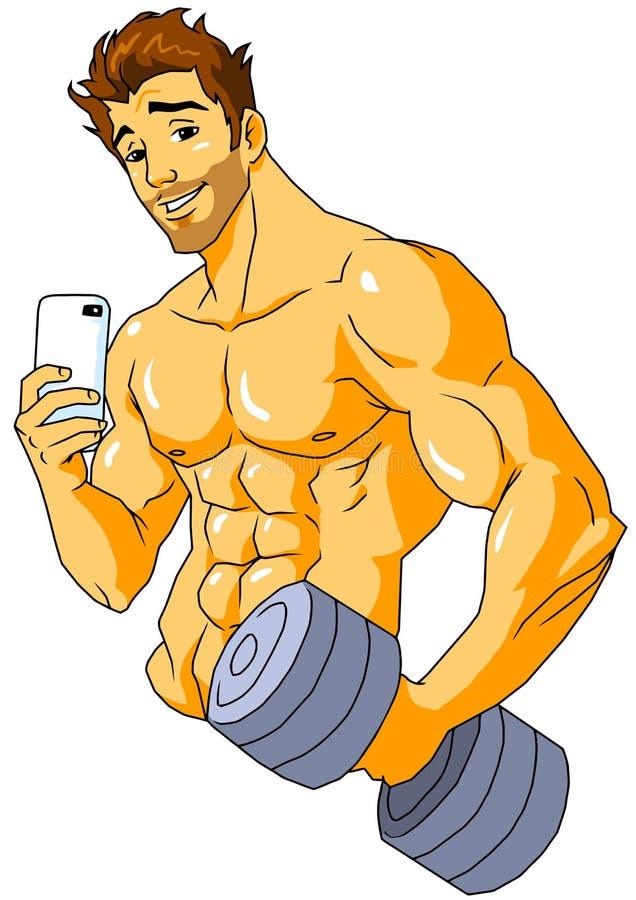 Culturista che prende un selfie nella palestra illustrazione di stock