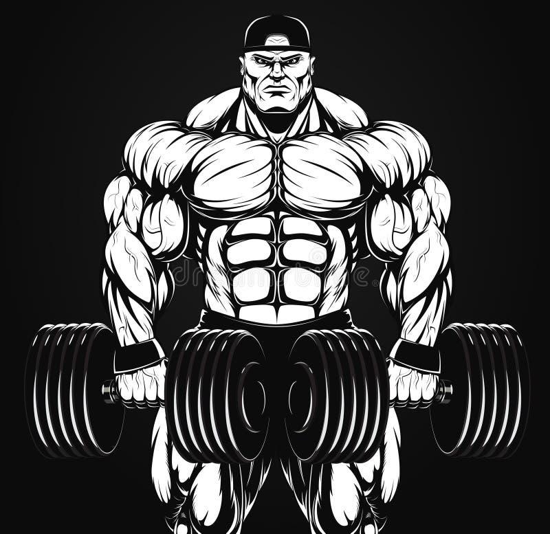 Culturista con pesa de gimnasia libre illustration