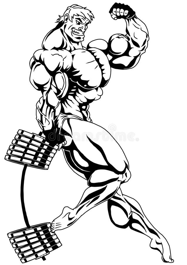 Culturista demasiado musculoso estupendo stock de ilustración