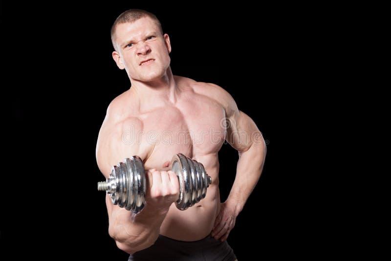 Culturista masculino con pesas de gimnasia fotografía de archivo libre de regalías
