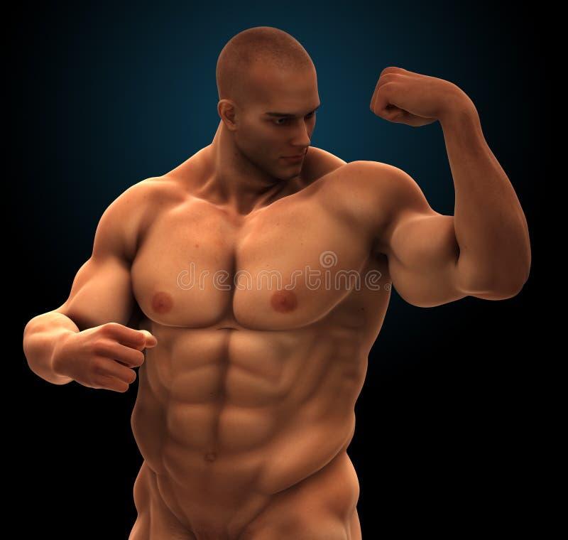 Culturista muscular con seis tops del paquete stock de ilustración