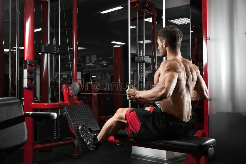 Culturista muscular del atleta que entrena detrás en el simulador en el gimnasio fotos de archivo libres de regalías