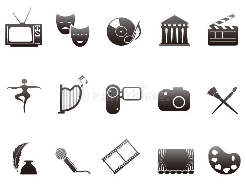 Cultuur en kunst geplaatste pictogrammen stock illustratie
