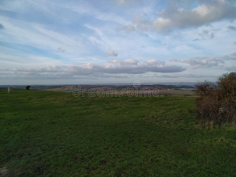 Culver down to portsmouth. View towards Portsmouth from Culver Down royalty free stock photo
