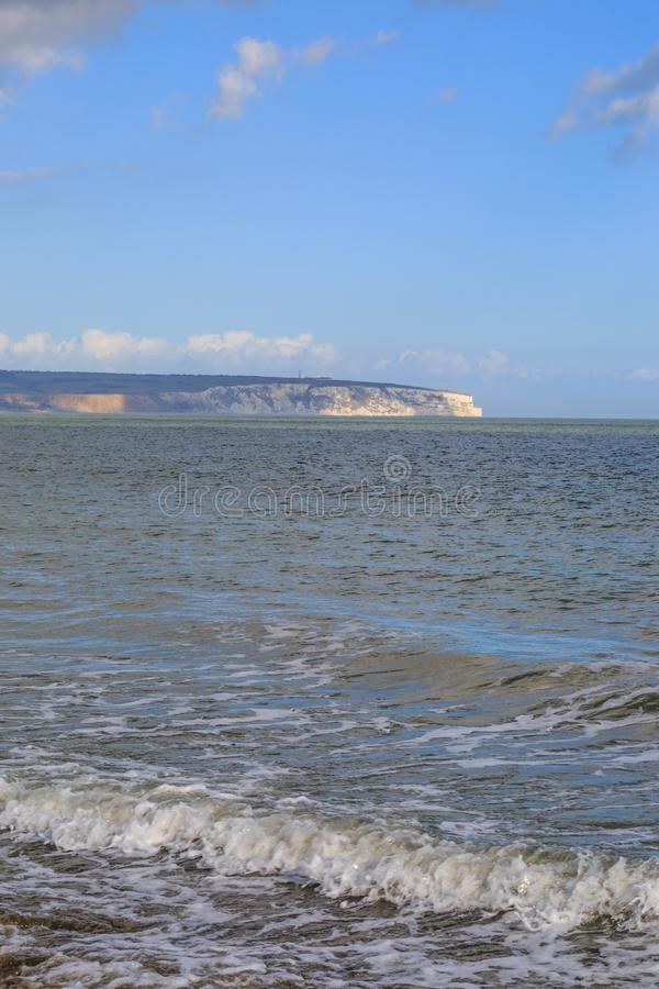 Culver Down. A view of Culver Down over the ocean, taken from Shanklin beach royalty free stock photo