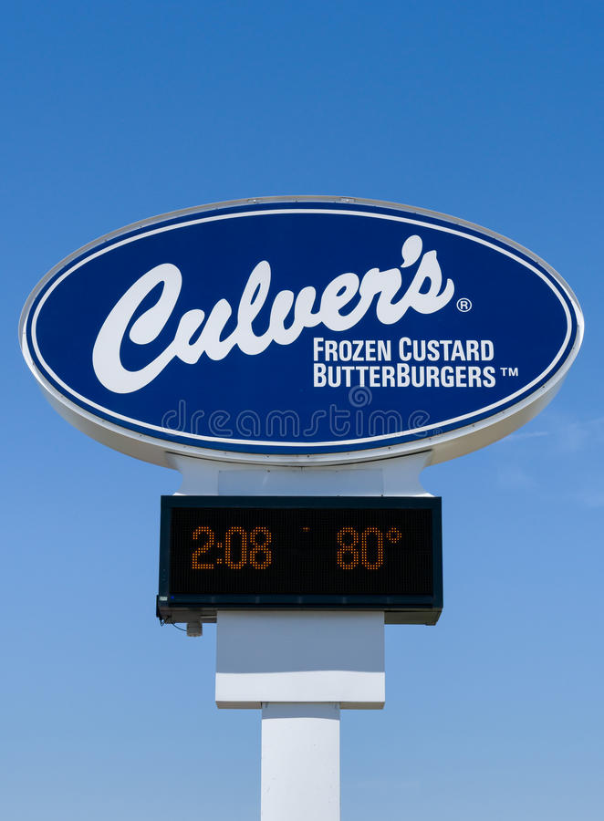Culver`s Restaurant Sign and Logo. MITCHELL, SD/USA - JUNE 1, 2017: Culver`s restaurant sign and logo. Culver is a privately owned and operated fast casual royalty free stock photography