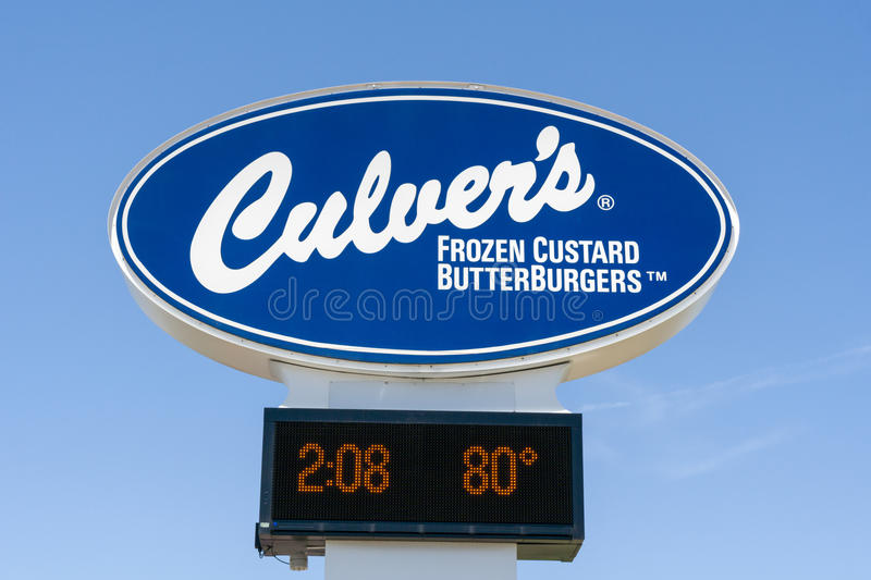 Culver`s Restaurant Sign and Logo. MITCHELL, SD/USA - JUNE 1, 2017: Culver`s restaurant sign and logo. Culver is a privately owned and operated fast casual stock photo