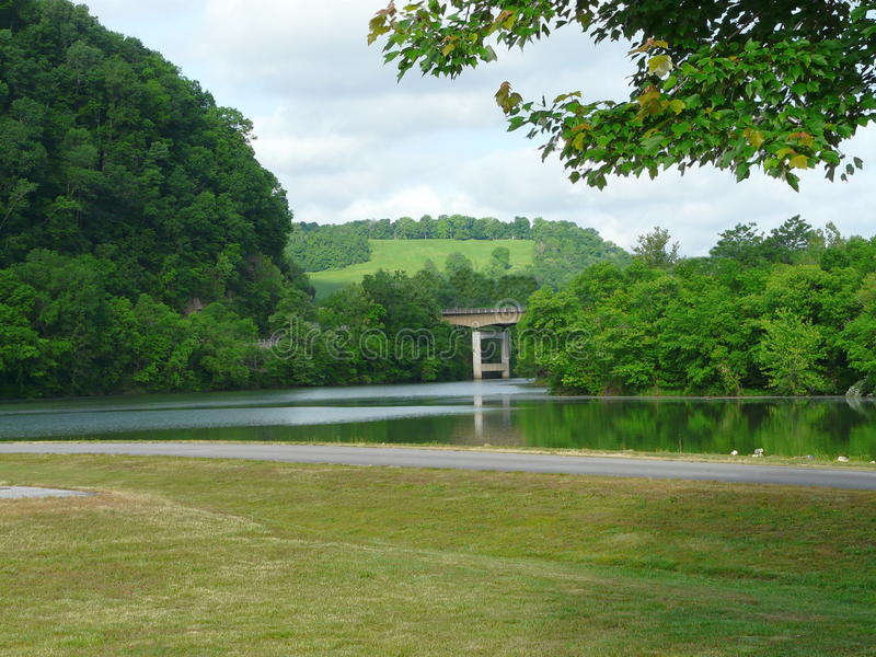 Cumberland River Scene with Bridge royalty free stock photography