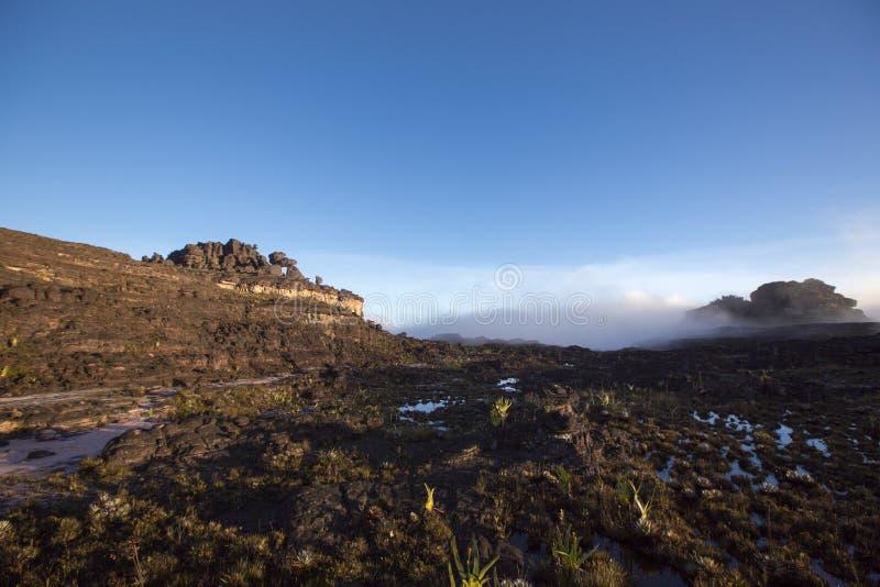 Cumbre del soporte Roraima, mundo extraño hecho del st volcánico del negro imagen de archivo