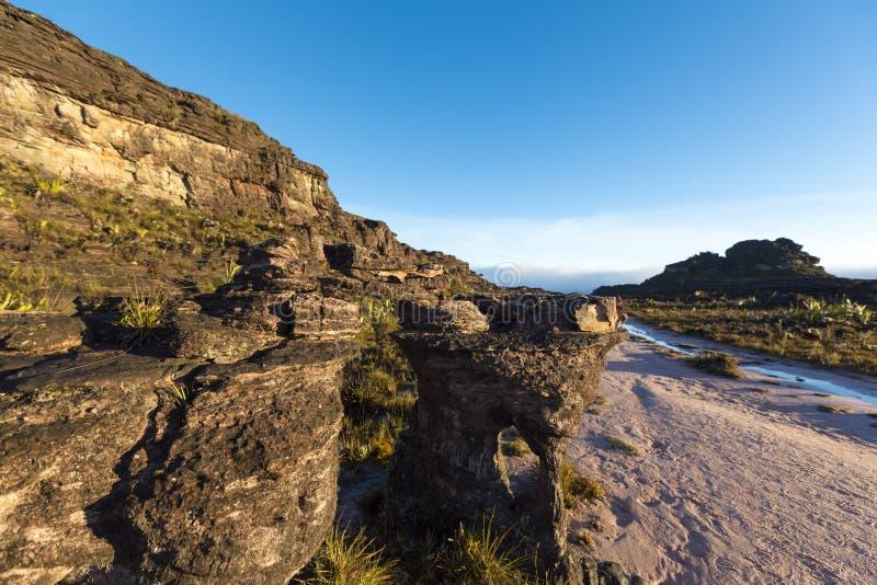 Cumbre del soporte Roraima, piedras negras volcánicas, Venezuela imagen de archivo libre de regalías