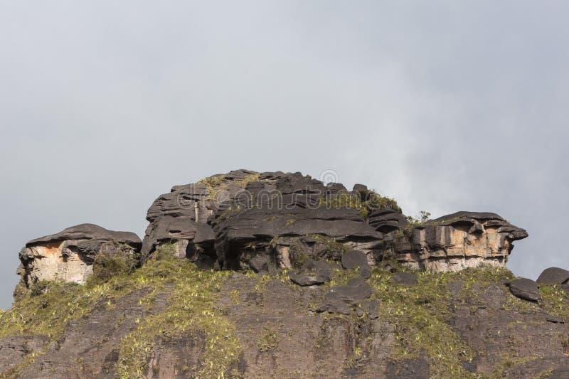 Cumbre del soporte Roraima, piedras negras volcánicas, Venezuela foto de archivo