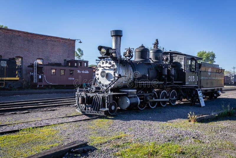Cumbres & Toltec scenisk järnväglokomotiv arkivfoto