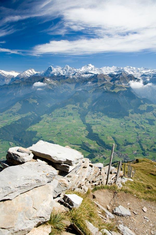 Cume Eiger, Moench e Jungfrau da montanha foto de stock
