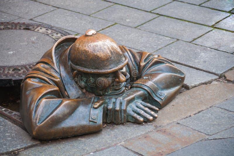 Cumil il lavoratore della fogna, Bratislava immagine stock libera da diritti