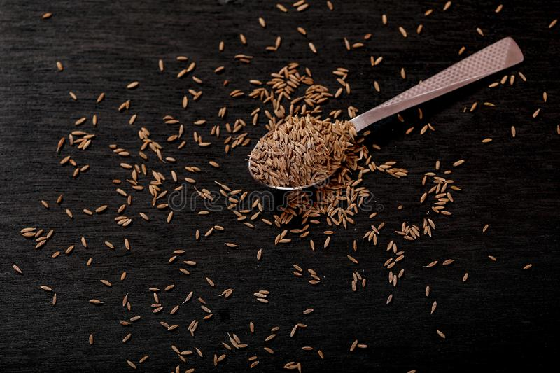 Cumin Seeds on black background royalty free stock photography