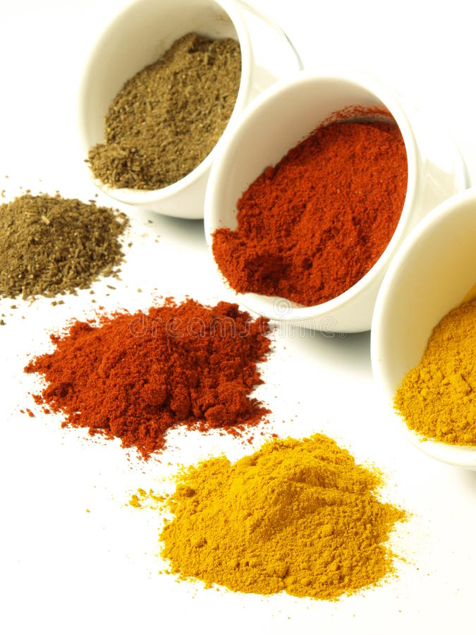 Cumin, turmeric and pepper royalty free stock photo