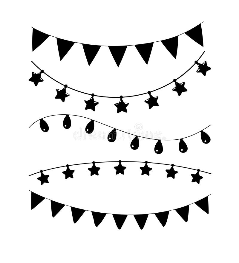 Cumpleaños blanco y negro, decoración del vector del partido Sistema de la guirnalda ilustración del vector