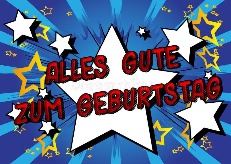 Cumpleaños de Geburtstag del zum de Alles Gute feliz en alemán libre illustration