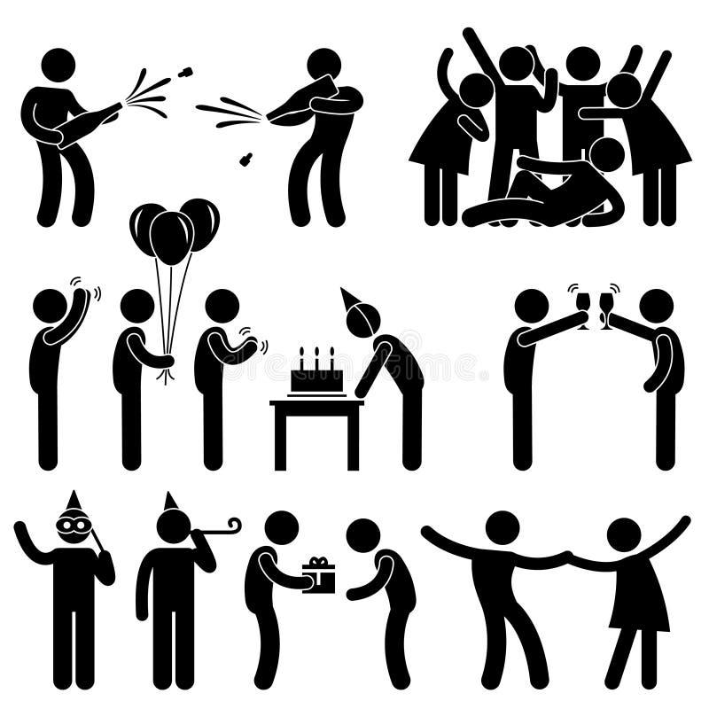 Cumpleaños de la celebración del partido del amigo stock de ilustración