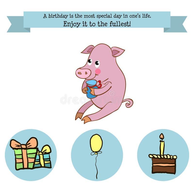 Cumpleaños de la enhorabuena con un cerdo del carácter ilustración del vector