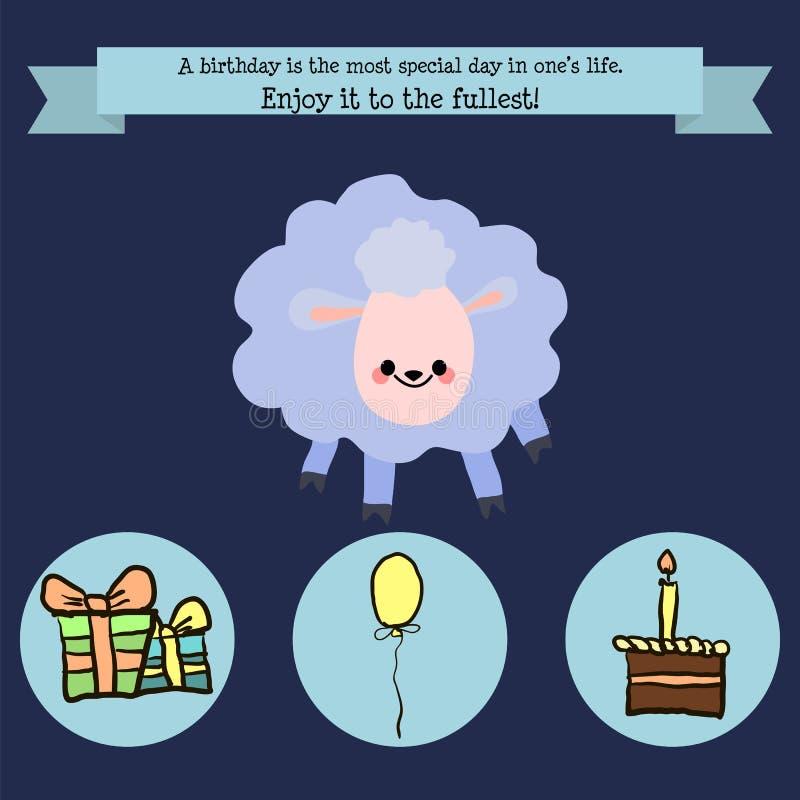 Cumpleaños de la enhorabuena con un cordero del carácter, un globo, la torta y g libre illustration