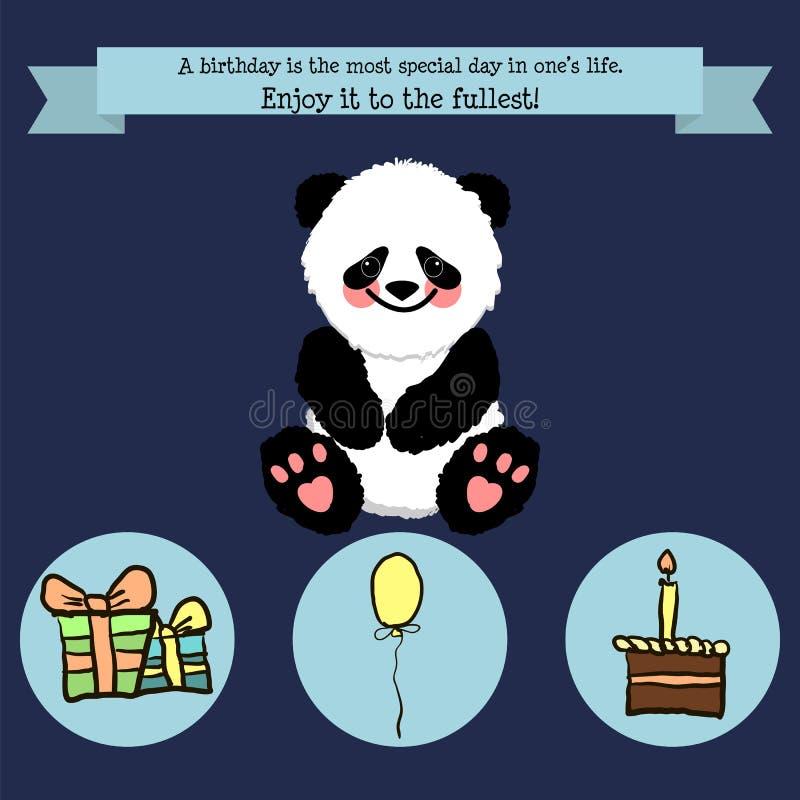 Cumpleaños de la enhorabuena con una panda del carácter, un globo, la torta y g ilustración del vector