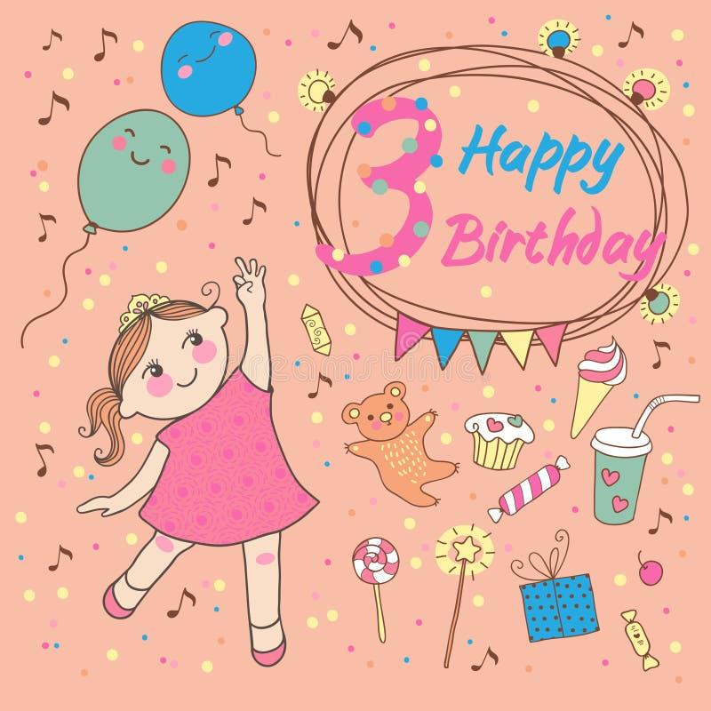 Cumpleaños De La Niña 4 Años Tarjeta De Felicitación