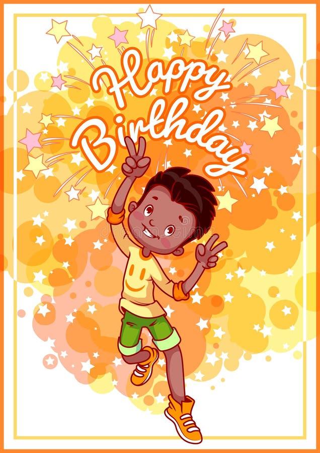 Cumpleaños de la tarjeta de felicitación con un muchacho afroamericano feliz ilustración del vector