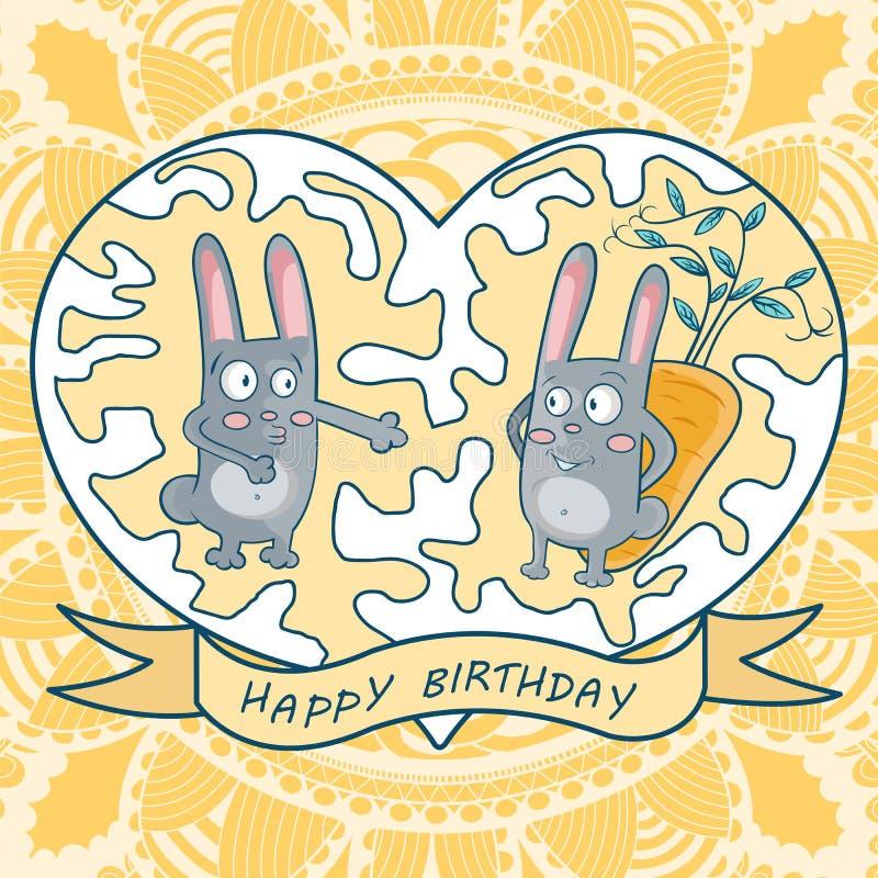 Cumpleaños de la tarjeta de felicitación feliz dos conejos, zanahorias, corazón ilustración del vector
