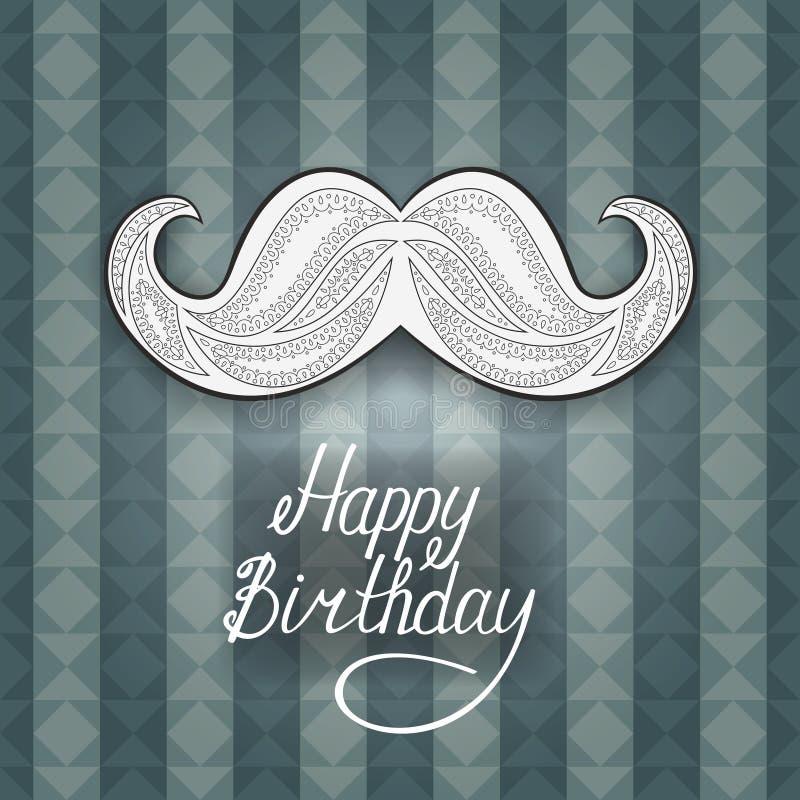 Cumpleaños de la tarjeta de felicitación feliz Postal con un bigote de Zen Tangle Fondo azul con las rayas y los triángulos ilustración del vector