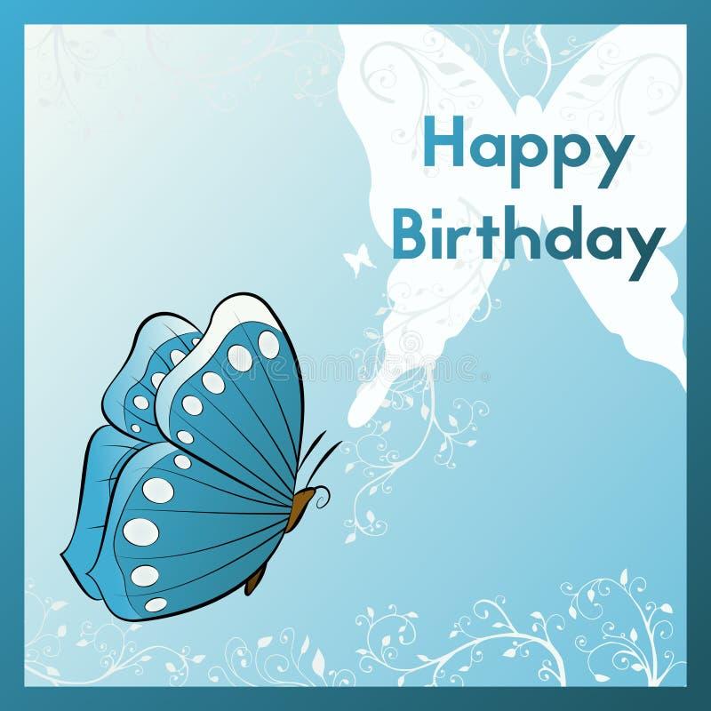 Cumpleaños de la tarjeta de felicitación Diseñe una postal con la mariposa Remolinos de las plantas en el fondo libre illustration
