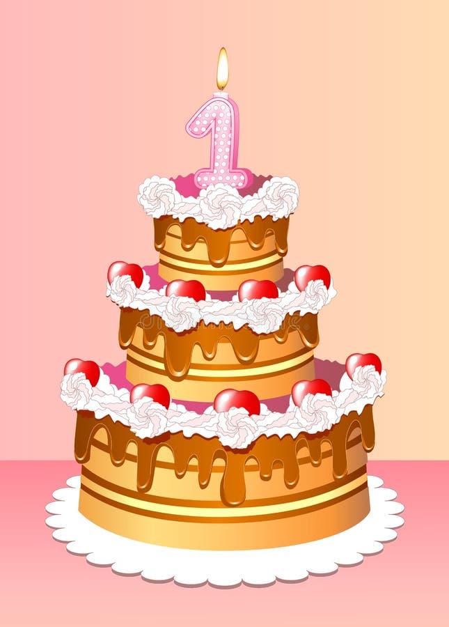Cumpleaños de la torta ilustración del vector