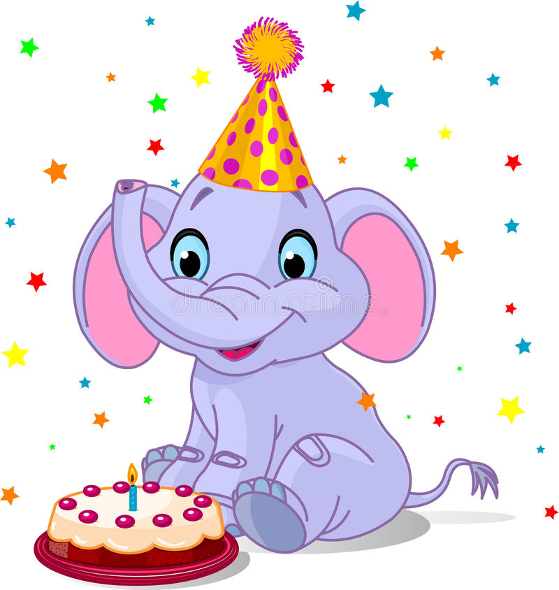 Cumpleaños del elefante del bebé ilustración del vector