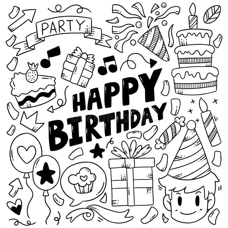 07-09-019 cumpleaños del garabato exhausto del partido de la mano el feliz adorna el ejemplo del vector del modelo del fondo ilustración del vector