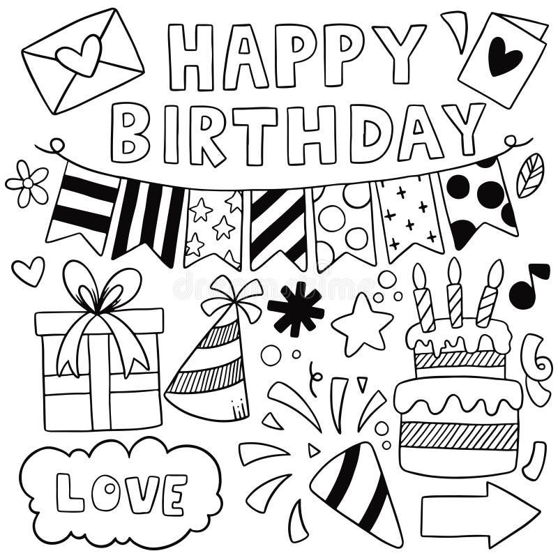 07-09-030 cumpleaños del garabato exhausto del partido de la mano el feliz adorna el ejemplo del vector del modelo del fondo stock de ilustración