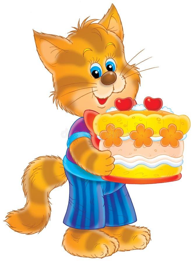 Cumpleaños del gatito stock de ilustración
